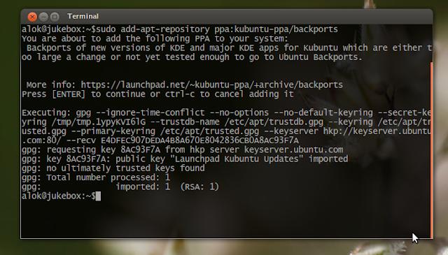 adding KDE repositories in ubuntu