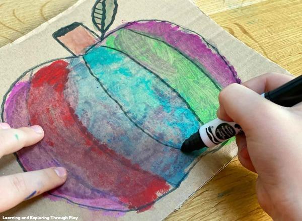 Paint Stick Watercolour Pumpkin Art