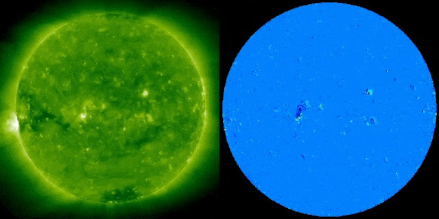 Credit: NASA, STEREO-A/EUVI on the left and the processed image on the right.