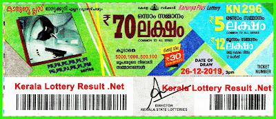 Kerala Lottery Result 26-12-2019 Karunya Plus KN-296
