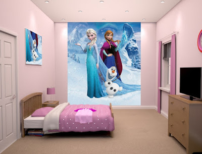 Gambar Wallpaper Dinding Kamar Tidur Anak Frozen