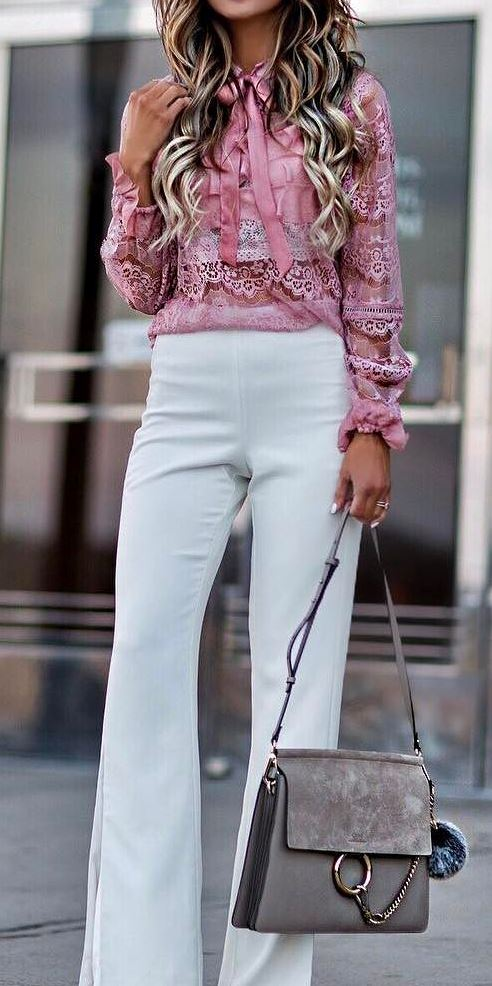 pretty cool office style outfit: lacer blouse + white pants + bag