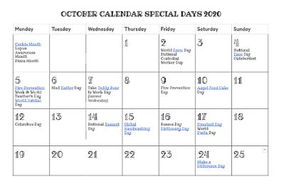 OCTOBER 2020 Calendar of Special Days