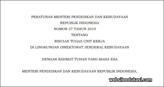 Permendikbud Nomor 27 Tahun 2019