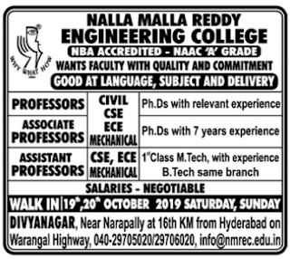 NMREC Nalla Malla Reddy Engineering College, Medchal, Recruitment 2019 Assistant Professor Jobs walk-in interview