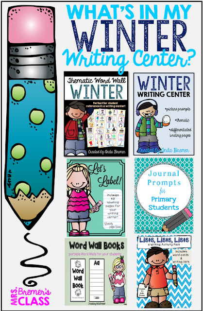 Writing center components including a thematic word wall, writing center stationery, labelling pages, writing prompts, sticker stories, writing lists, writing letters, write the room activities, and more