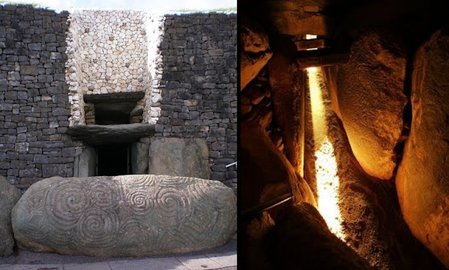 On the left, the 'roof box' above the entrance to the Newgrange passageway restricted the light so that it only came down the passageway around the time of the winter solstice. It was so precise that it seems likely it could indicate the actual day of the winter solstice in real time which the Greeks and Romans could not do 3000 years later.