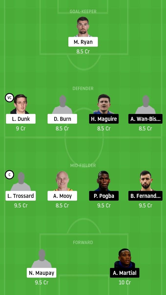 Premier League - Brighton & Hove Albion Vs Manchester United Dream11 Fantasy Team Prediction
