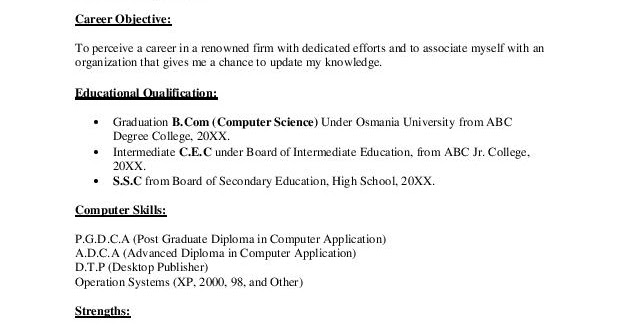 In a computer science resume for fresher, the person involved has to state all academic details, the person's principal objective and all such the major. Download Computer Science Fresher Resume Sample Graduate B Com Computer Science Fresher Resume Resume Samples Projects Download Now