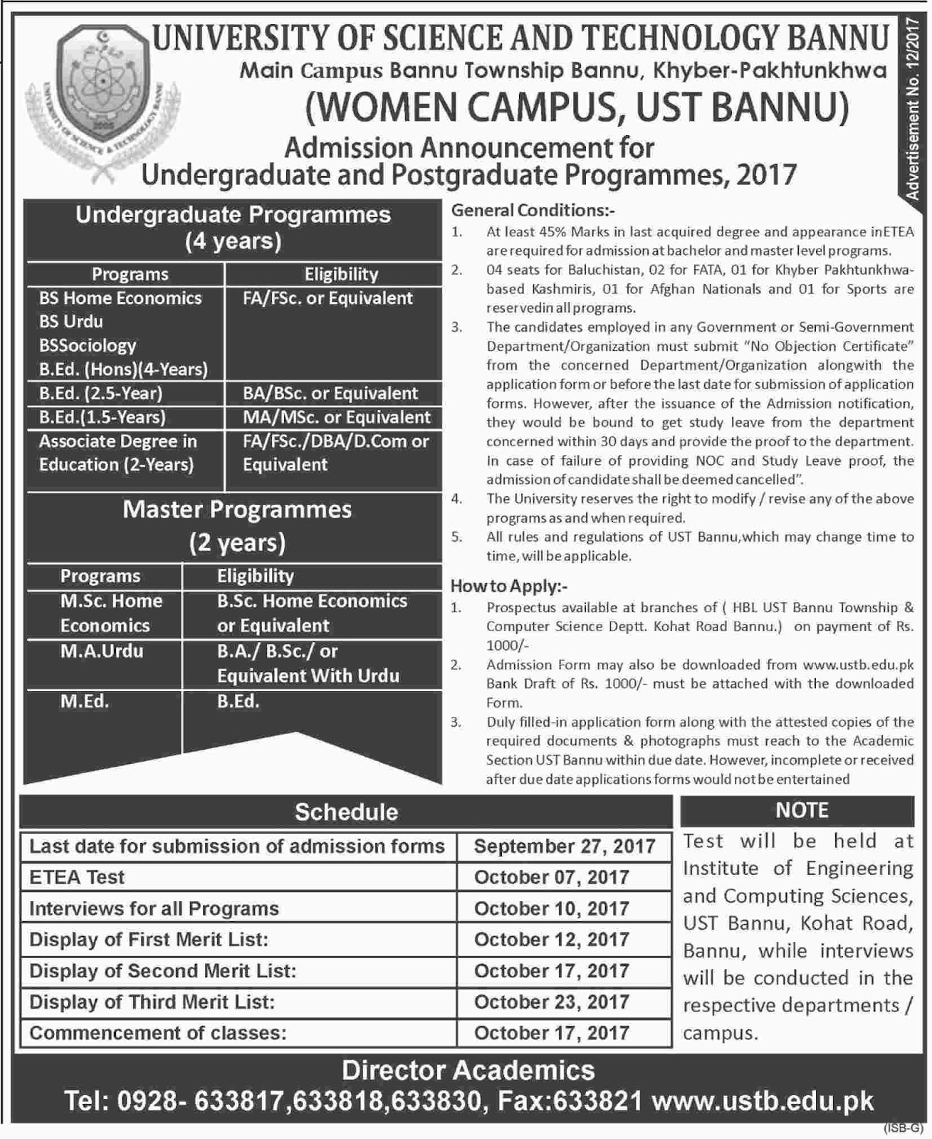 Admissions Open in University of Science and Technology Bannu - 2017