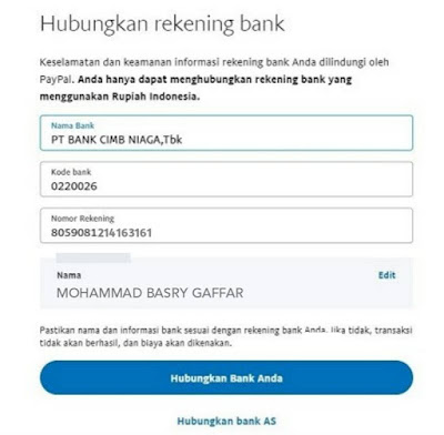 pengisian data rekening dana di paypal