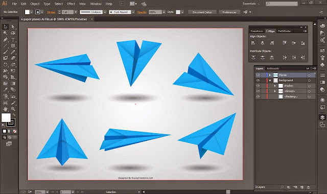 Paper Airplanes form 6 Different Angles Ai and Psd files.