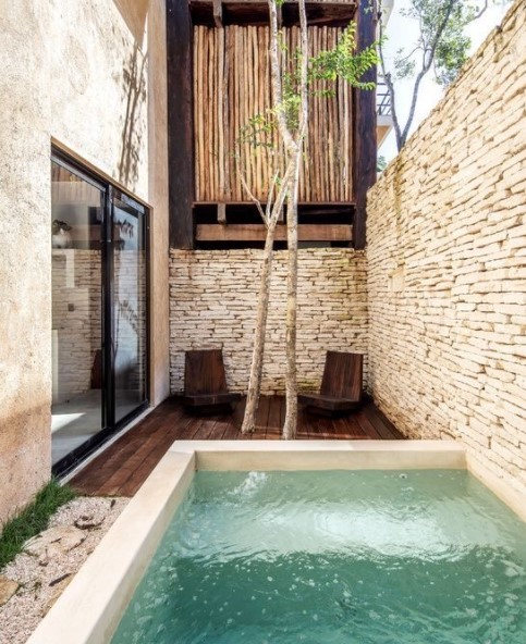 small house design with swimming pool