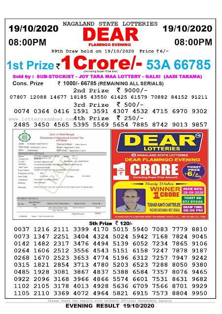 Lottery Sambad 19-10-2020 Today Results 8:00 pm, Nagaland State Lottery Sambad Today Result 8 pm, Sambad Lottery, Lottery Sambad Live Result Today