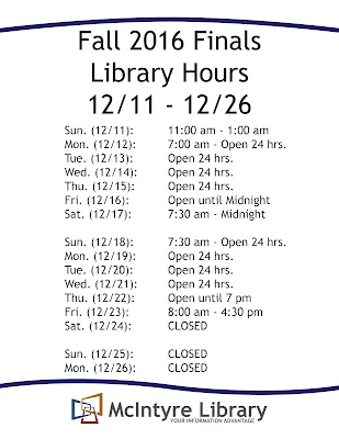 Fall 2016 Finals Hours