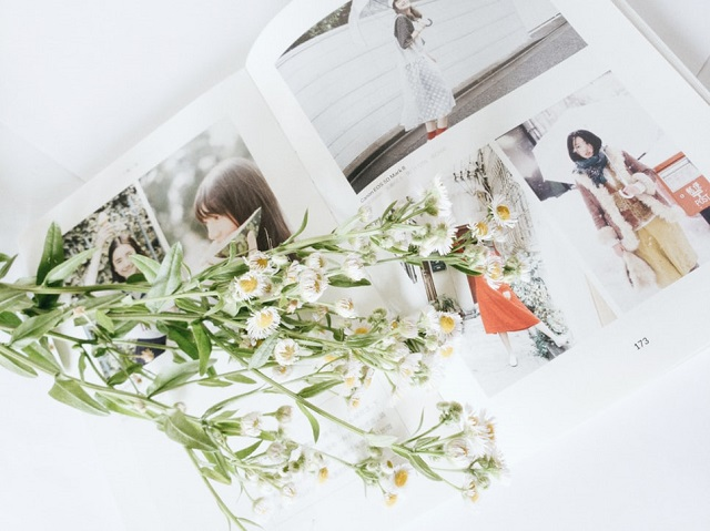 photobook of asian woman with flowers
