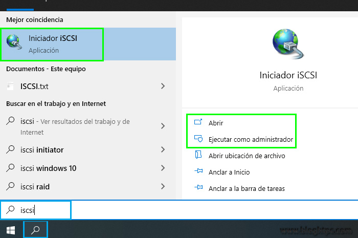 CONFIGURACION DEL INICIADOR iSCSI EN WINDOWS 10