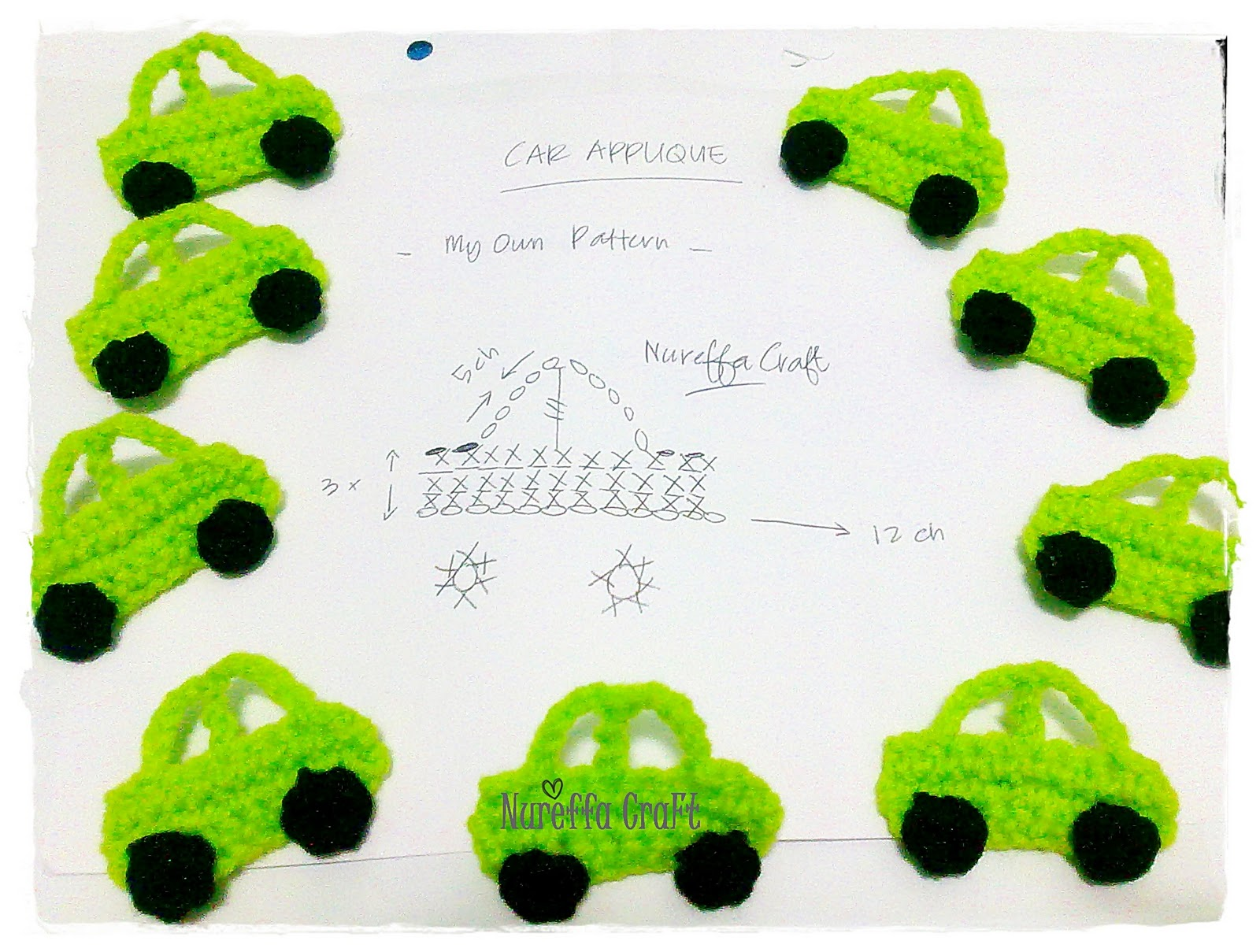 Amigurumi Patterns Cars : Nureffa craft ::: :: crochet free pattern car applique ::