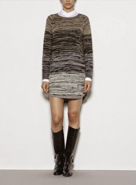 Vestido de punto degradé asimétrico