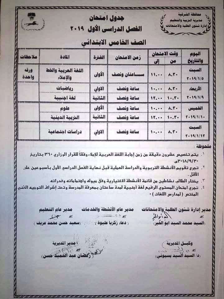 جدول امتحانات الصف الخامس الابتدائي 2019 محافظة الشرقية