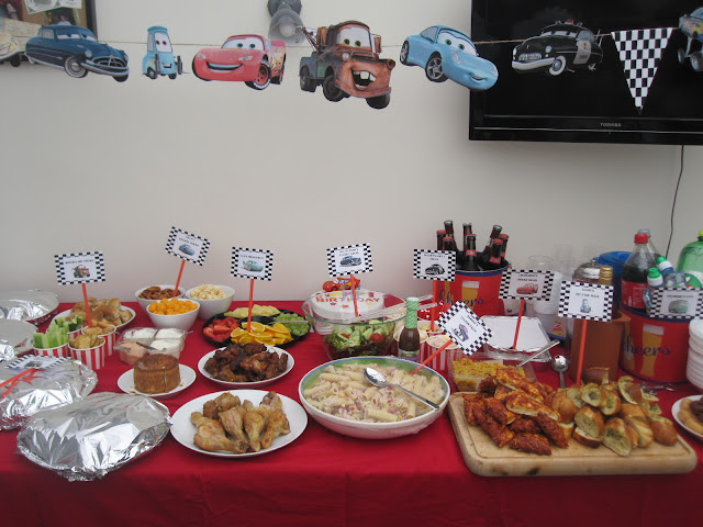 Cars themed bunting and buffet