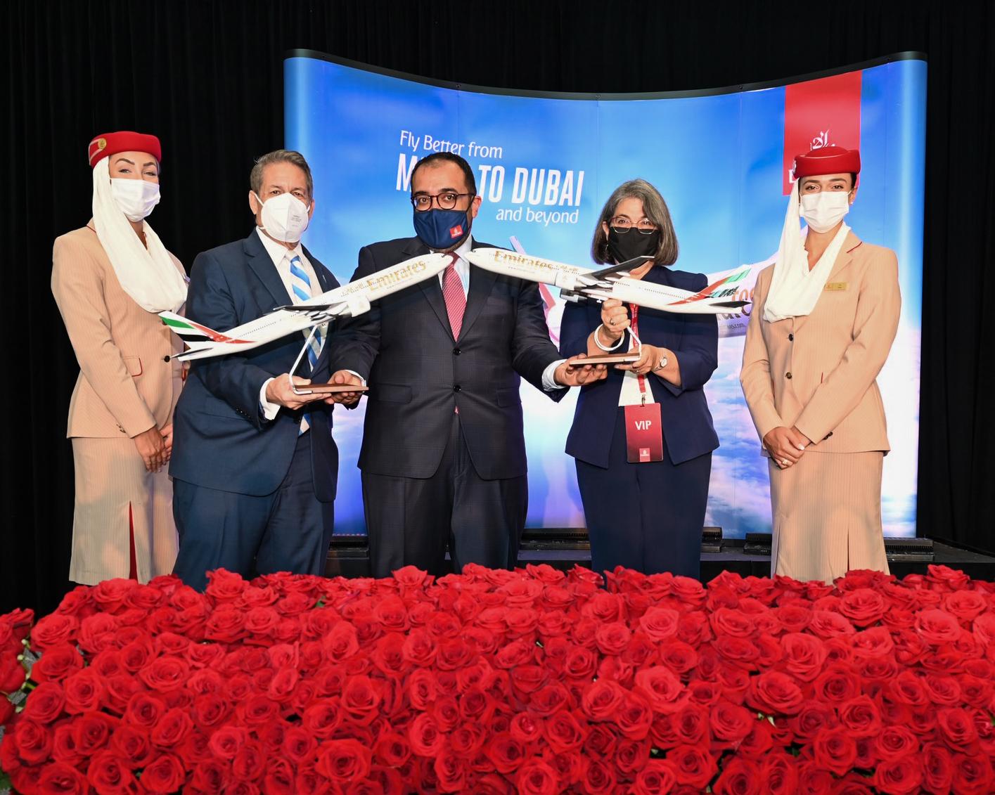 رحلة طيران الإمارات Emirates الافتتاحية تحظى باستقبال حافل في ميامي الأمريكية