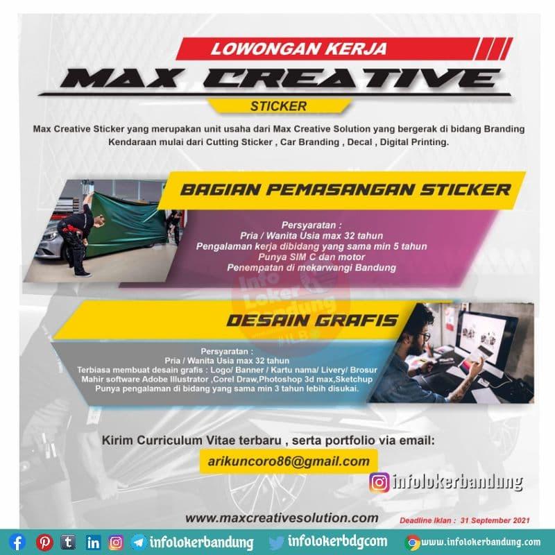 Lowongan Kerja Max Creative Bandung Semptember 2021