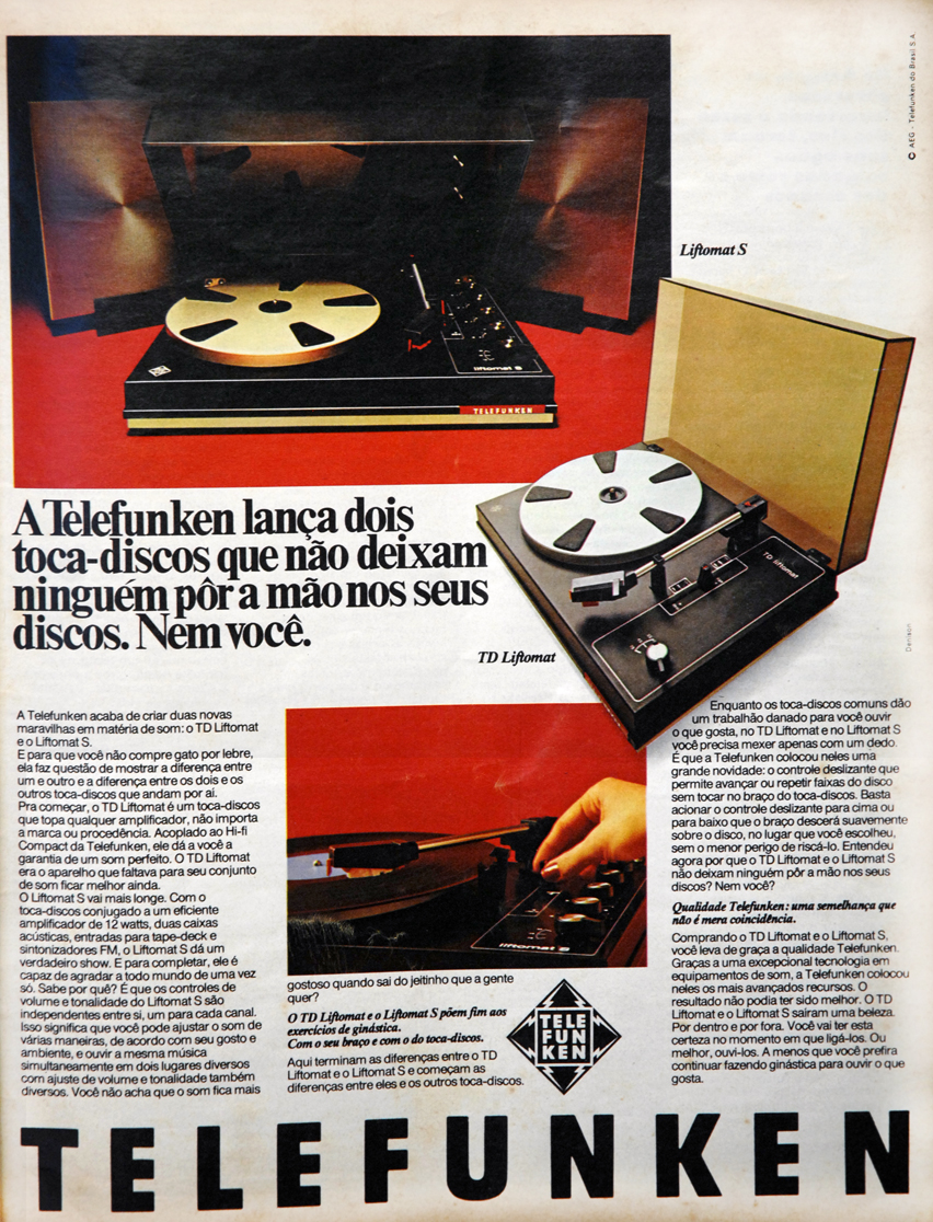 Propaganda antiga da Telefunken apresentando modelo de toca-discos em 1976