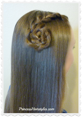 Side lace french braid with braided flower. Back to school hair ideas.