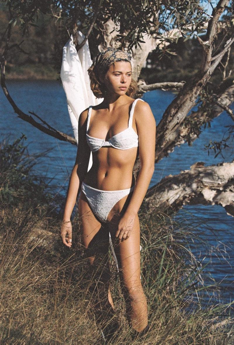 Rocking a white bikini, Georgia Fowler fronts Juillet Eothen collection.