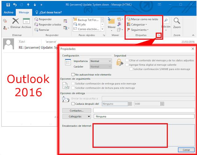 Encabezado de Internet Microsoft Outlook 2016