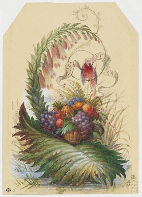 """Christmas Card design depicting a floral design with a fruit basket and a cockatoo with the words """"Happy New Year""""."""