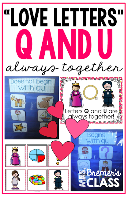 Q and U together in words learning for Kindergarten and First Grade