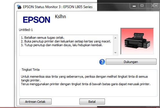Epson L805 Blink All Light Bersamaan