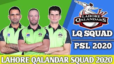 PSL 2020 Lahore Qalender Squad