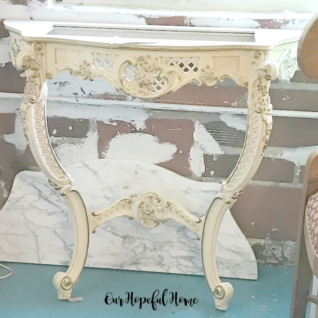 vintage Italian hand-carved marble top console table set