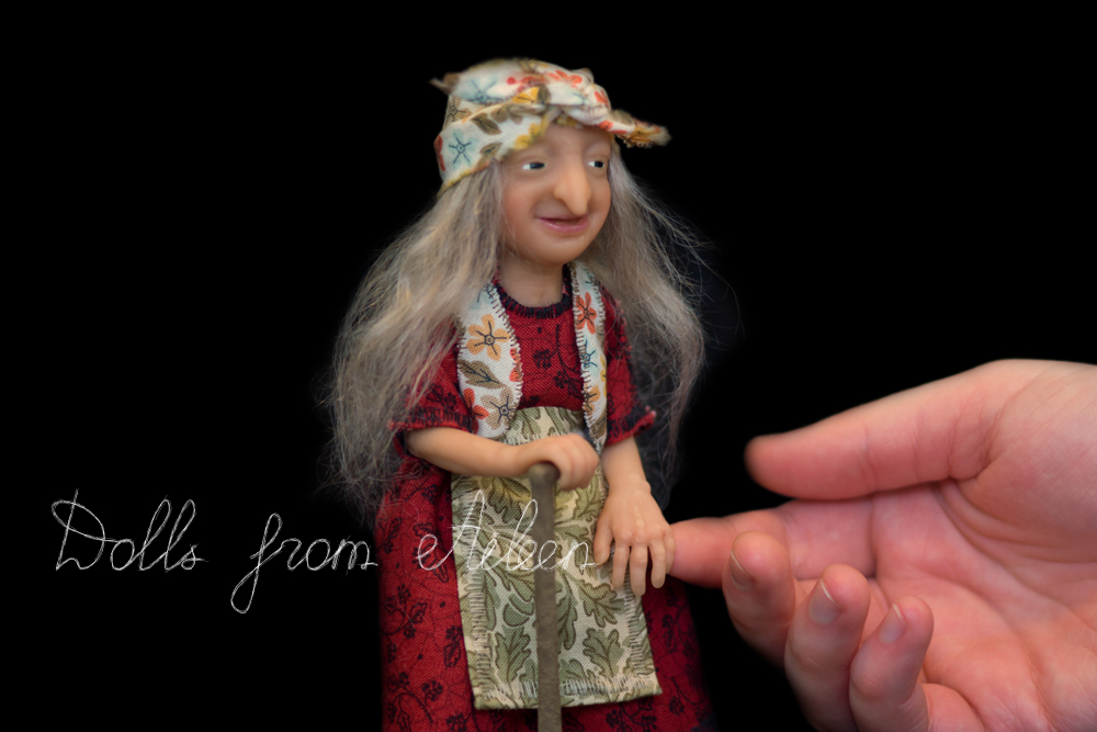 ooak miniature 'Baba Yaga' witch art doll with human hand
