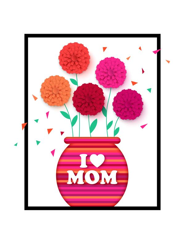 Flower with mother day background free vectors