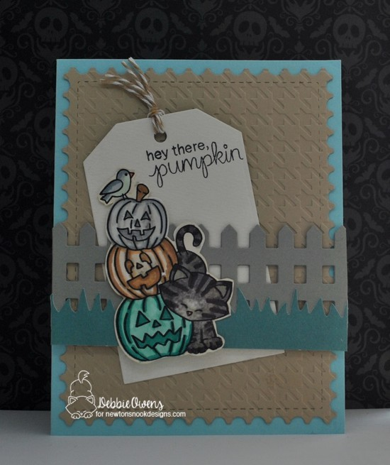 Hey there pumpkin by Debbie features Newton's Boo-tiful Night, Fence, Framework, Fancy Edges tag, and Land Borders by Newton's Nook Designs; #newtonsnook