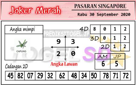 Pred Joker Merah SGP Rabu 30 September 2020