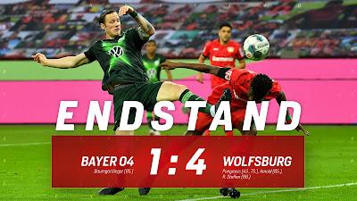 ملخص واهداف مباراة فولفسبورج وباير ليفركوزن ( 4-1) في الدوري الالماني