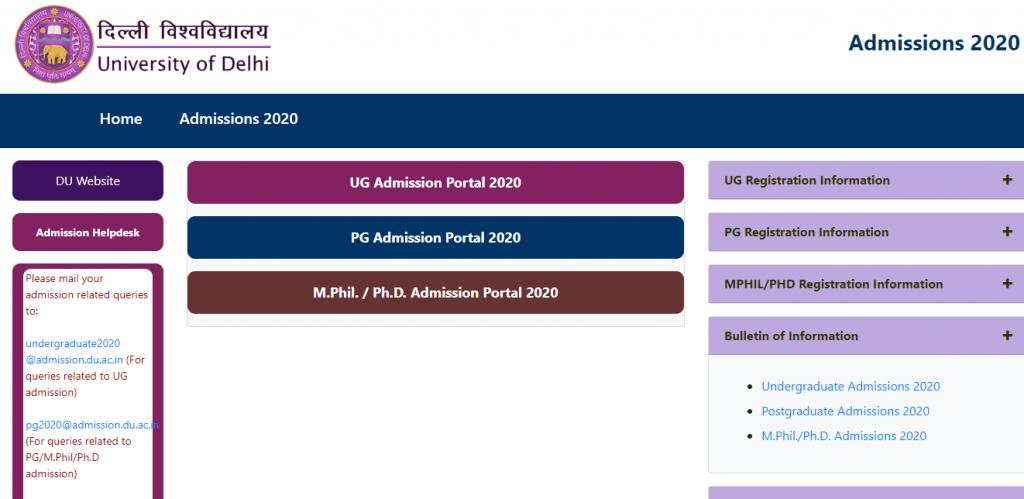 DU UG Admission 2020