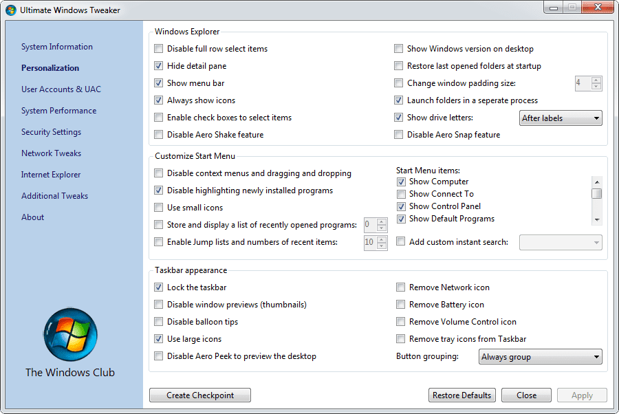 Ultimate Windows Tweaker 2.2 per Windows 7 e Vista
