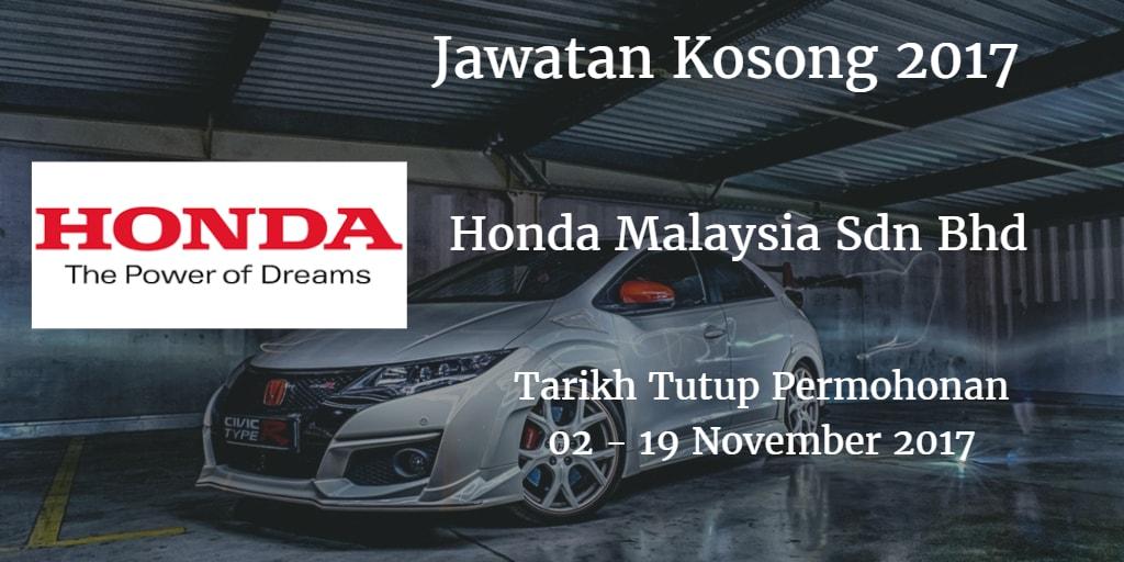 Jawatan Kosong Honda Malaysia Sdn Bhd 02 - 19 November 2017