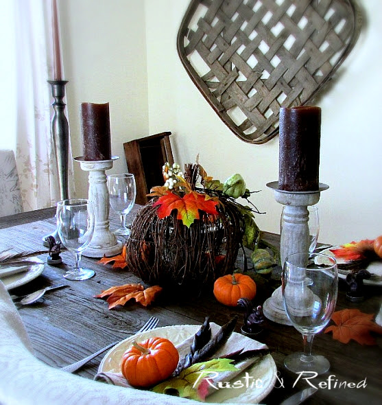 Orange and Brown Fall Tablescape
