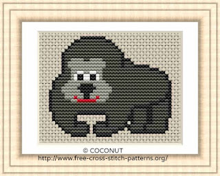 Gorilla, Free and easy printable cross stitch pattern