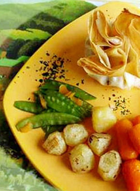 Aumônières De Poulet Et Petits Légumes