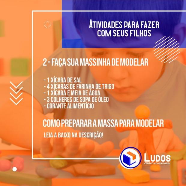 Centro Educacional Ludos ensina receita de massa de modelar para alunos fazerem em casa