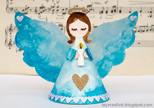 Layers of ink - 3-D Watercolor Angel Tutorial by Anna-Karin Evaldsson. With the 3-D Angel die by Sizzix.