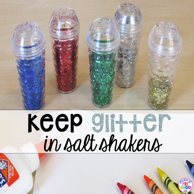 You can use old salt or sprinkle shakers (or pick them up for cheap at the Dollar Tree) to keep your glitter tidy and easy to use.